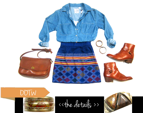 reconstructed printed mini skirt, vintage coach bag, flat ankle boots, bangles