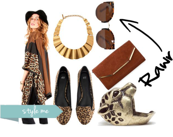 leopard print shoes, jacket, sunglasses, tiger ring