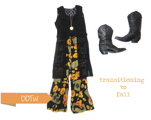 sunflower bell bottom pants and crochet vest