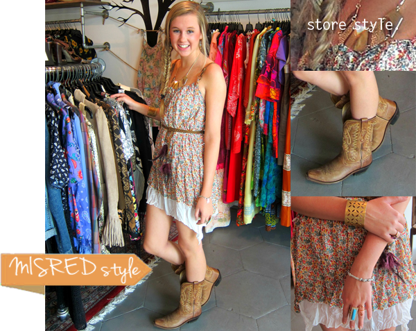floral boho dress and cowboy boots